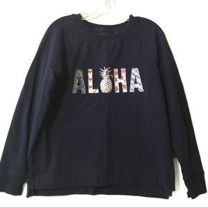 """Tommy Bahama blue """"Aloha"""" pineapple sweatshirt M"""